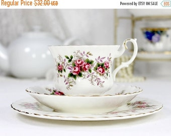 Bone China, Teacup Trio, Tea Cup, Saucer and 7 Inch Side Plate, c1961 Royal Albert, Lavender Rose,  12446
