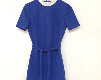 vintage 60s blue twiggy mod dress