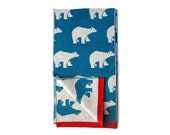 Blue Scarf with Polar bears print Alaska · Super high quality merino wool · Blue & beige with red ribbon · Pure wool scarves · Gifts for him