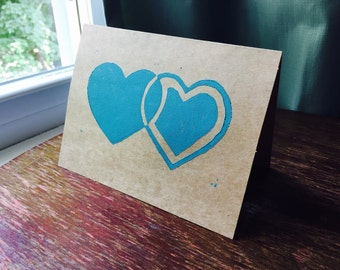 SALE 50% off Blue Hearts One Handmade Greeting Card