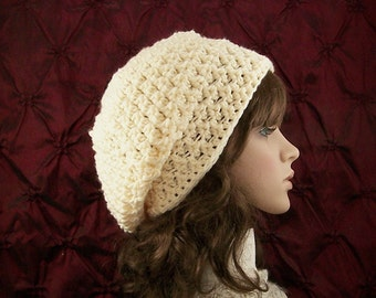 Crochet slouch hat - cream color hat - women's winter accessories, winter fashion, gift for her - Sandy Coastal Designs - ready to ship