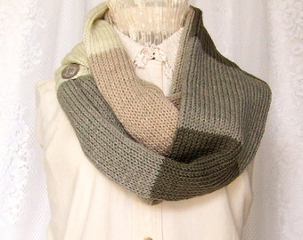 Knit scarf - tan, cream, and grey colors - infinity scarf, circle scarf, gift for her, double knit scarf Sandy Coastal Designs ready to ship