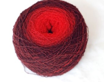Pure Cashmere Gradient Yarn, Recycled, Bright Red, Dark Red, Lace Weight, 317 yards,hand dyed, handpainted, lot #12