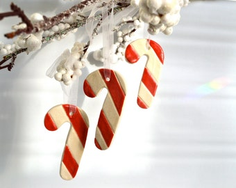 Ceramic Candy Cane Ornaments, Red on White Set of Three  7300