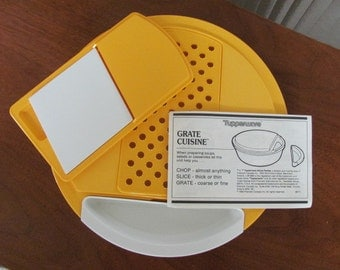 Vintage Tupperware Mustard Yellow Grate Cuisine - 1988  - Kitchen - Appliance - Plastic - Tool - Utensil - Shredder
