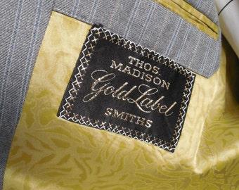 70's Western tailored Grey Pinstripe suit / Anchor Man / Thos Madison Smiths / Men/