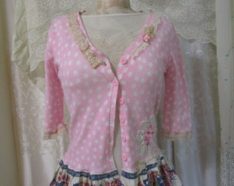 Pink Polka Dot Sweater, unique OOAK refashioned clothing MEDIUM