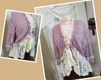 Lavender Sweater, soft ruffled lace, vintage shabby cottage chic, LARGE