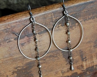 Wire Wrapped Hoop Earrings - Silver Pyrite