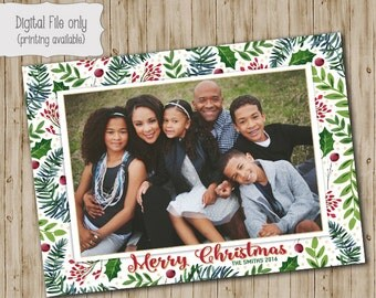 Happy Holidays Christmas Card, Photo Christmas Cards, Photo Holiday Cards, Holiday Cards, Holly, White Floral, Glitter Christmas