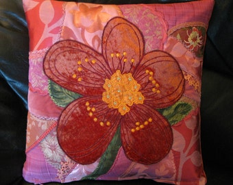 Orange and Pink Crazy Quilt Pillow cover.  Unique Velvet Flower cushion cover 16x16 inches