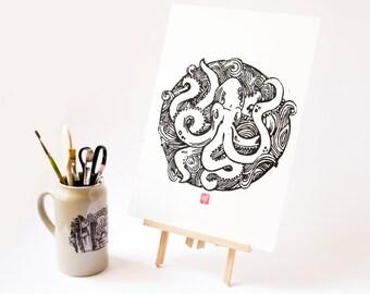 LINOCUT PRINT- giant octopus - artistic print- Kraken