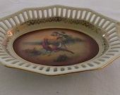 Vintage China Bowl, Trinket Dish, Small Reticulated Slotted Edge, Pheasant Center, Bavaria Germany