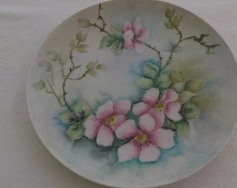 Vintage Hand Painted Plate, Aqua with Pink Flowers and Branches