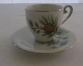 Vintage Tea Cup and Saucer, Demitasse Cup and Saucer, Small Cup and Saucer, Pine Cone Detail, Fine Seyei China, Nagoya Japan