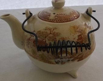 Vintage Teapot, Transfer Ware Asian Scene, China Porcelain, Wire Handle Tea Pot