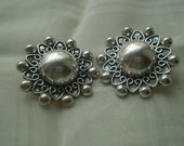 Sale  Sterling Silver Clip Earrings Circa 1970's