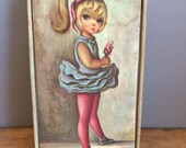 Vintage Kitsch Jean Maio Ballerina Jewelry Box Velvet Big Eye Art