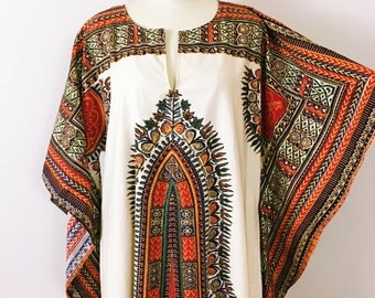 70's Angel Sleeve Dashiki Dress, Vintage 1970's Deadstock, Vibrant Block Print Africana Dress,Womens Large 10 11 12 14