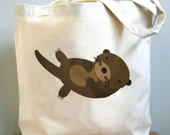 Otter tote bag, Otter canvas tote