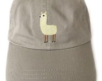 Llama embroidered baseball cap, Llama ball cap, khaki baseball cap, unisex baseball cap