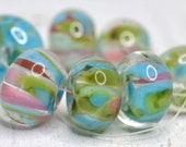 lampwork beads... SRA handmade, encased classic frits (caribbean island) set (of 7 beads)  for making jewelry 91816-2