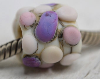 NEW! large hole tube pebble lampwork bead, SRA handmade, matte finish in pinks, lavender and ivory for charm bracelet  P70516-9