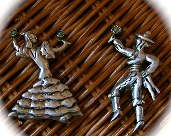 Vintage Mexican Silver Couple Dancer Brooches Pins Turquoise Maracas
