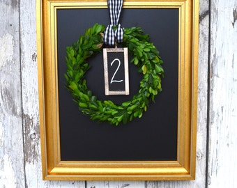French Style Decor Wedding Table Chair Number Box wood Wreath chalkboard Tag
