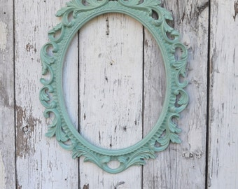 Oval Picture Frame Large Ornate Baroque Fancy Portrait Wedding Mint Green Nursery Shabby French