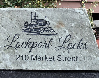 Hand Engraved Rock - Custom House Address, Name or Business