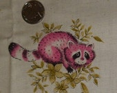 vintage juvenile print fabric woodland pink raccoon BTY muslin nursery novelty forest animal 36 in X 45 in infant floral flower cute adorabl