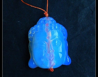 Carved Opalite Buddha Head Pendant Bead,31x25x10mm,12.0g