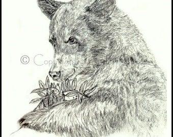 HAPPY BIRTHDAY Card, Black Bear. Blank Inside, Drawing, Berries, Bears