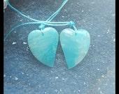 Amazonite Heart Gemstone Earring Bead,22x17x5mm,4.99g