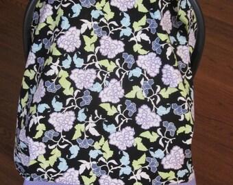 Car Seat Canopy // BONUS ** Reversible // Floral on Black Background and Lavender Polka Dot