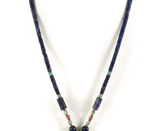 Necklace Silver Star and Lapis Stone Beads Afghanistan 19 Inch 105590