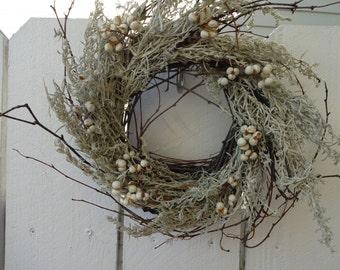 Birch Twig Wreath  Rustic Wreath   Natural Wreath   Tallowberries   Autumn Wreath  Christmas Gift  Rustic Wedding Decor  Natural Wreath