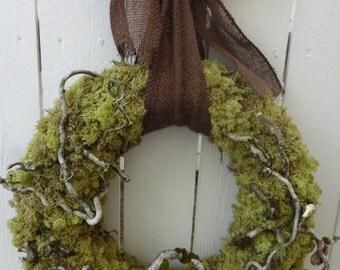 Moss Wreath   Woodland Wreath   Woodland Wedding  Natural Wreath  Rustic Wreath  Door Wreath  Reindeer Moss Wreath