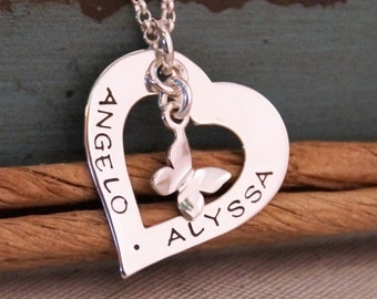 Love Heart Romantic Necklace / Heart Washer / Personalized Hand Stamped Jewelry / Sterling Silver necklace