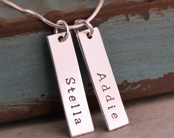 Personalized Bar Necklace / Two Vertical Tags Necklace / Hand Stamped Mommy Jewelry / Sterling Silver