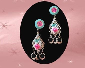 Retro Dangle Earrings - OOAK Dangles Made with 40s Vintage Drop Earrings