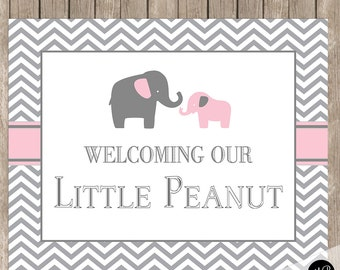 Elephant Baby Shower Welcome Sign, Pink and Gray, Baby Shower Sign, Welcome Sign, Elephant Baby Shower 8x10 Sign pe1