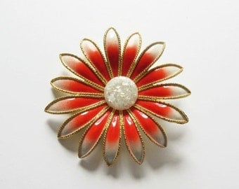 on sale Large Flower Pin Vintage Orange and White Flower Pin with White Button Center
