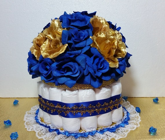 diaper cake centerpiece for prince baby shower boys royal blue