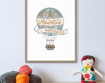 Hot Air Balloon Nursery, Hot Air Balloon Print, Adventure Awaits, Adventure Nursery, Every Adventure, Baby Girl Nursery, Adventure Print