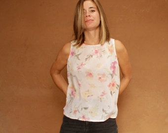 90s sheer floral TWIN PEAKS era PINK tank top slouchy oversize shirt blouse