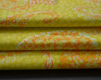 Vintage Retro Cotton Paisley Fabric Orange and Yellow 1 Yard and 13 inches