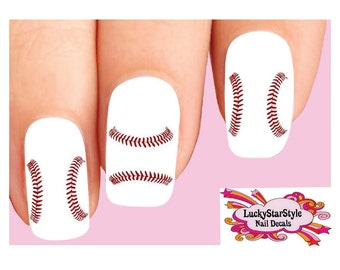 Waterslide Nail Decals Set of 20 -  Baseball Softball Stitches