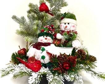 "Snowman Arrangement Winter Christmas Centerpiece Custom Designed in Large Decorative Black & White Polka Dot Bowl 16"" H x 18""W"
